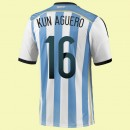 Boutique Maillot De Foot Argentine (Kun Aguero 16) 2014 World Cup Domicile Adidas