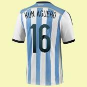 Boutique Maillot De Foot Argentine (Kun Aguero 16) 2014 World Cup Domicile Adidas