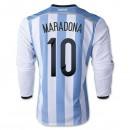 Maillot De Foot 2014/2015 Argentine Domicile Manche Longue Coupe Du Monde (10 Maradona)