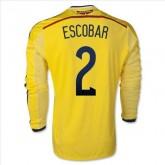 Maillot De Foot 2014/2015 Colombie Domicile Manche Longue Coupe Du Monde (2 Escobar) Authentique