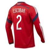 Maillot De Foot 2014/2015 Colombie Exterieur Manche Longue Coupe Du Monde (2 Escobar) Soldes Alsace