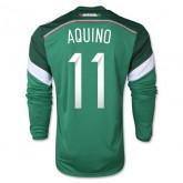 Maillot De Foot 2014/2015 Mexique Domicile Manche Longue Coupe Du Monde (11 Aquino)
