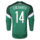 Maillot De Foot 2014/2015 Mexique Domicile Manche Longue Coupe Du Monde (14 Chicharito)