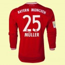 Maillot Du Foot Manches Longues Bayern Munich (Muller 25) 2014 2015 Domicile Adidas Prix Europe