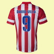 Maillot Football Atletico Madrid (David Villa 9) 2015/16 Domicile Soldes Avignon