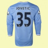 Maillot Football Manches Longues Manchester City (Jovetic 35) 2014 2015 Domicile Nike Vintage France Soldes