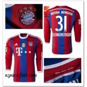 Maillot Manche Longue Bayern Munich Schweinsteiger 2014 2015 Domicile Paris