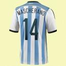 Maillots Argentine (Mascherano 14) 2014 World Cup Domicile Adidas Prix