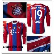 Maillots Foot Manche Longue Bayern Munich Gotze 2014-15 Domicile Cannes