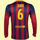 Personnalisé Maillots Manches Longues Fc Barcelone (Xavi Hernandez 6) 2014-2015 Domicile Nike