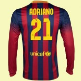 Personnaliser Son Maillots Manches Longues (Adriano 21) Fc Barcelone 2014 2015 Domicile Pas Chere