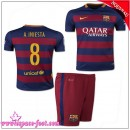 Barcelone Maillot A.Iniesta Baby Kits 2015-16 Game Domicile Maillot De Foot A.Iniesta 2015-16 France Magasin