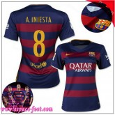 Barcelone Maillot Foot A.Iniesta Femme 2015/16 Game Domicile Maillots De Foot A.Iniesta 2015/16 Collection