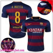 Barcelone Maillots Foot A.Iniesta 2015 2016 Game Domicile Maillot Foot A.Iniesta 2015 2016 France Soldes