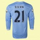 Boutique Maillot De Football Manches Longues Manchester City (Silva 21) 2015/16 Domicile Nike Lyon
