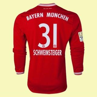 Boutique Maillots Manches Longues (Schweinsteiger 31) Bayern Munich 2014-2015 Domicile Adidas Soldes Soldes Marseille