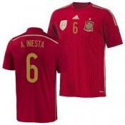 Espagne Maillot De Football Domicile Coupe Du Monde 2014 Adidas(6 A.Iniesta) Cannes