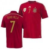 Espagne Maillot De Football Domicile Coupe Du Monde 2014 Adidas(7 Dacid Villa) Soldes France