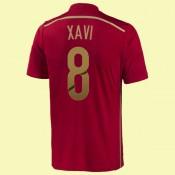 Les Nouveau Maillot De Football (Xavi 8) Espagne 2014 World Cup Domicile Soldes Paris