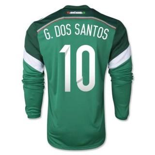 Maillot De Foot 2014/2015 Mexique Domicile Manche Longue Coupe Du Monde (10 Santos)