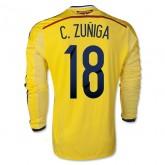 Maillot De Football Colombie 2014 Coupe Du Monde C.Zuniga Manche Longue Domicile En Solde