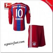 Maillot Foot Bayern Munich Enfant Trousse (Robben 10) 2014 2015 Manche Longue Domicile Site Officiel