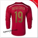 Maillot Foot Espagne (Diego Costa 19) 2014-15 Manche Longue Domicile Pas Cher