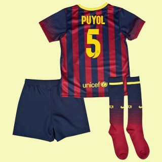 Maillot Football Enfants Barcelone (Carles Puyol 5) 2014-2015 Domicile Nike Original