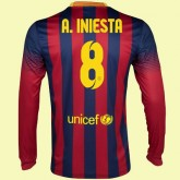 Maillot Manches Longues Barcelone (Andres Iniesta 8) 2015/16 Domicile France