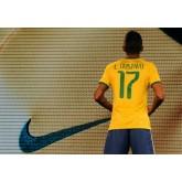 Maillots Brésil (Luiz Gustavo 17) 2014 World Cup Domicile Pas Cher Nice