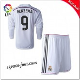 Maillots Foot Real Madrid Fc Enfant Trousse (Benzema 9) 2014 15 Manche Longue Domicile Pas Cher Nice