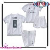 Maillots Foot Real Madrid Fc Kroos 2015-16 Enfant Kits Domicile Maillot De Foot De 2015/2016 Soldes Lyon